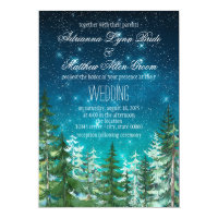 Star Light Night Forest Tree Wedding Invitations