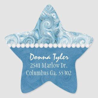 Star Shaped: Beachy Blue Swirls: Address Stickers