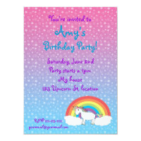 Star unicorn birthday invitation