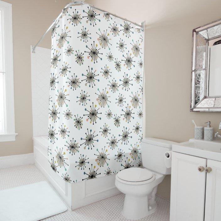 starburst pattern retro mid century modern shower curtain zazzle com