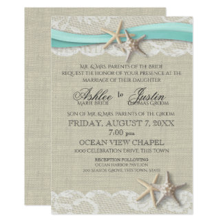 Modern Beach Themed Wedding Invitations