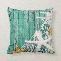 Starfish Netting Beach Wood | aqua Throw Pillow