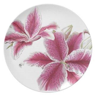 StarGazer Lillies Plate