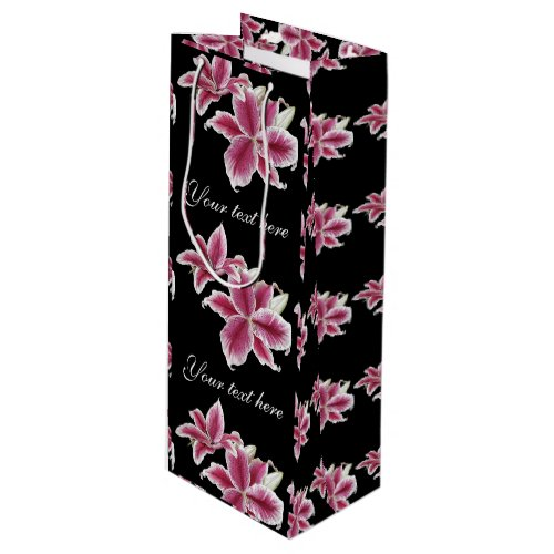 Stargazer Lillies Wine Gift Bag on Black