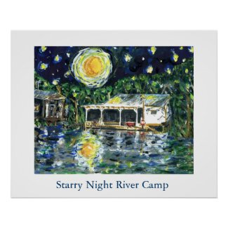 Starry Night River Camp print