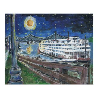 Starry Night Riverboat print