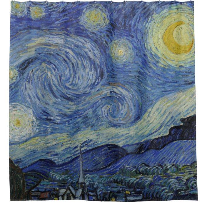 starry night vincent van gogh fine art painting shower curtain zazzle com