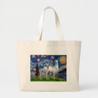 Starry Night with Two Llamas Large Tote Bag