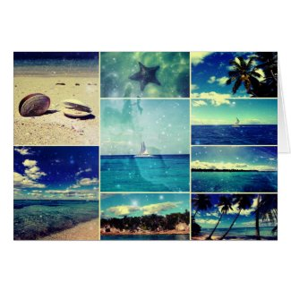 Starry Starry Caribbean Collage Greeting Card