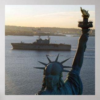 Statue of Liberty and US Naval Warship Photograph Print