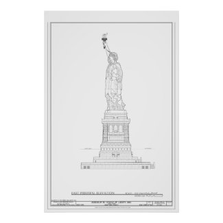 Statue of Liberty Blueprint Print