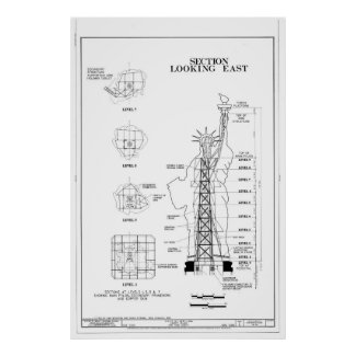 Statue of Liberty Structural Schematic Posters
