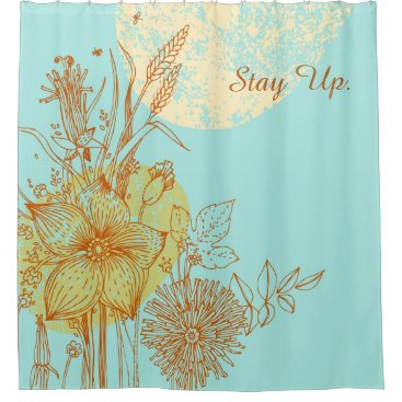 Stay Up - Retro Floral Design 2 Shower Curtain