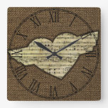 Steampunk Heart Wings Victorian Music Sheet Square Wall Clock