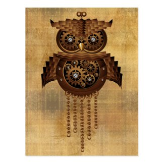 Steampunk Owl Vintage Style Postcards