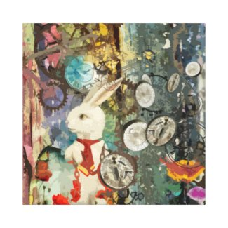 Steampunk Wonderland White Rabbit Gallery Wrapped Canvas