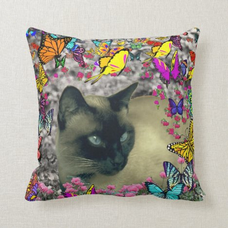 Stella in Butterflies Chocolate Point Siamese Cat Throw Pillow