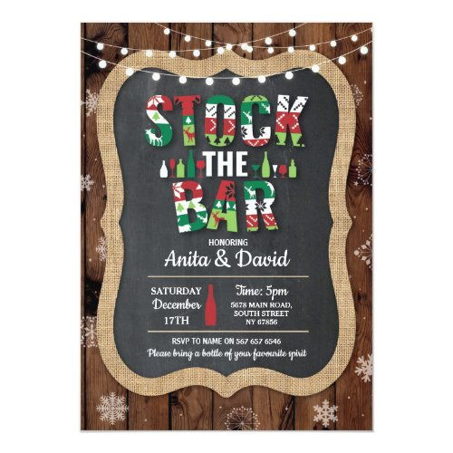 Stock The Bar Party Couple's Shower Christmas Xmas Invitation