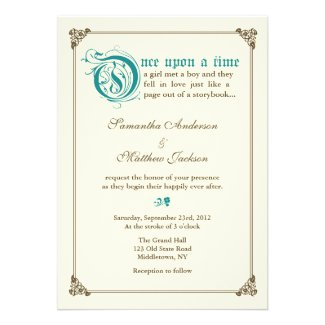 Storybook Fairytale Wedding Invitation - Teal