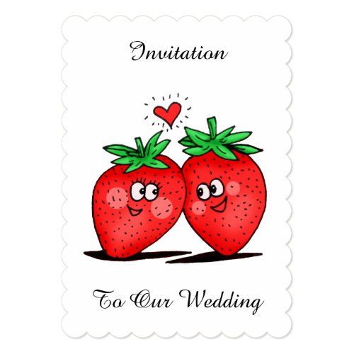 Strawberries Love - Tag Wedding Invitation