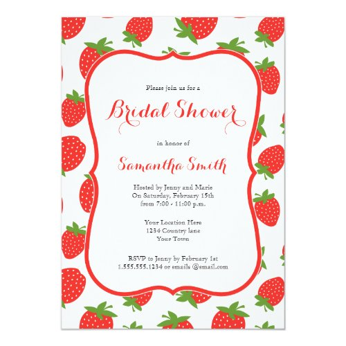Strawberry Bridal Shower Invitation