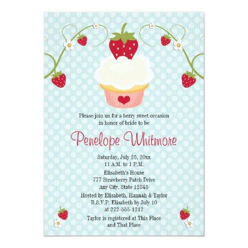 Strawberry Cupcake Bridal Shower Invitation Blue
