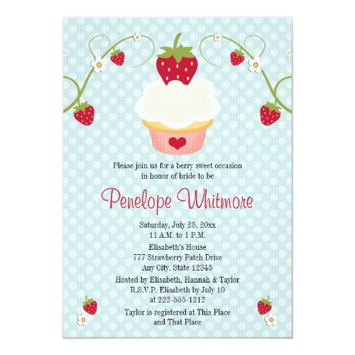 Strawberry Cupcake Bridal Shower Invitation Blue