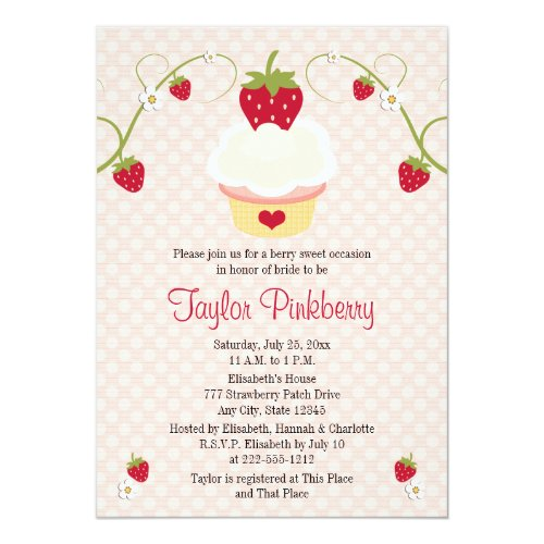 Strawberry Cupcake Bridal Shower Invitation Pink