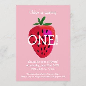 Strawberry First Birthday Invitation