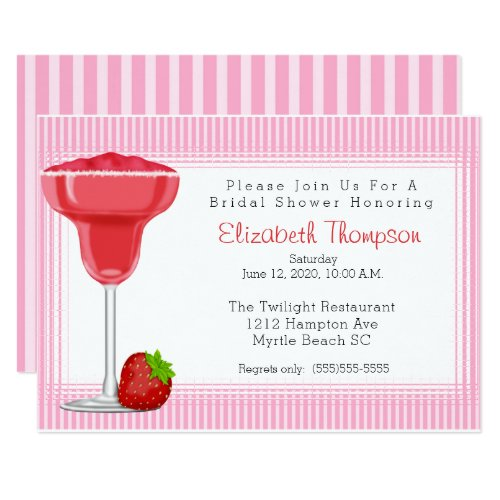 Strawberry Margarita Bridal Shower Invitation