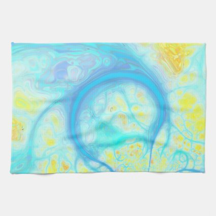 Streams of Joy – Cosmic Aqua & Lemon Kitchen Towel