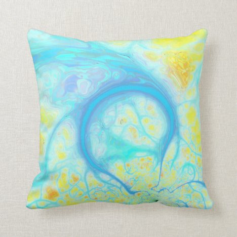 Streams of Joy – Cosmic Aqua & Lemon Throw Pillow