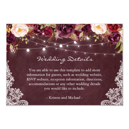 String Lights Burgundy Fl Lace Wedding Details Card