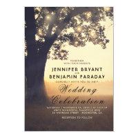 String Lights Tree Evening Sunset Rustic Wedding Card