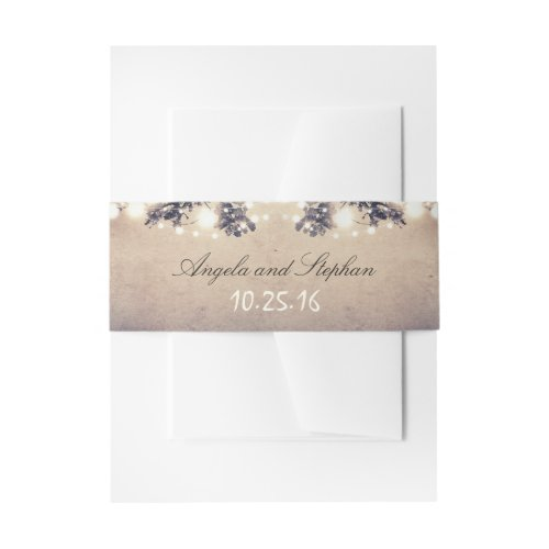 String of Lights Tree Branches Invitation Belly Band