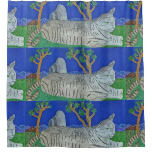 Stripey Cat At Joshua Tree By Julia Hanna Shower Curtain