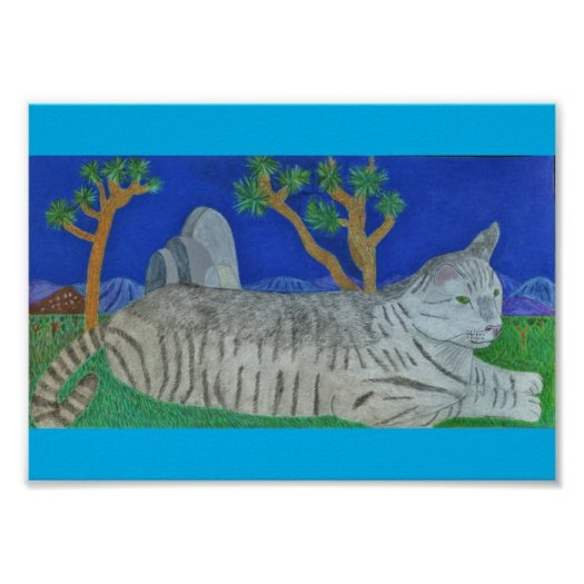 Stripey The Cat At Joshua Tree By Julia Hanna Poster