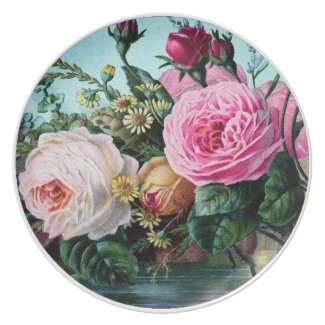 Stunning vintage art roses, flowers print gifts party plates