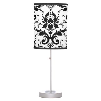Stylish Black and White Design Damask Table Lamp
