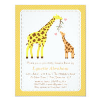 Stylish Colourful Giraffe Baby Shower Invitations