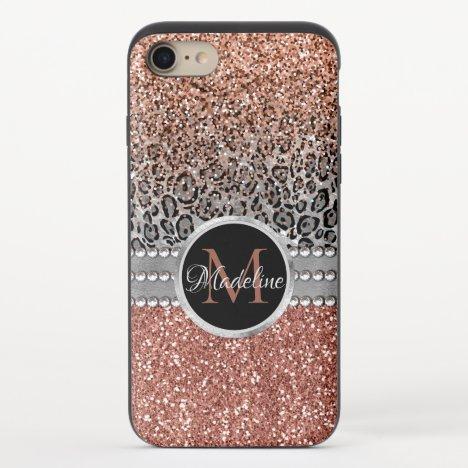 Stylish Girly Rose Gold Glitter Leopard Monogram iPhone 8/7 Slider Case