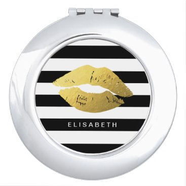 Stylish Gold Lips with Classic Black White Stripes Mirror For Makeup