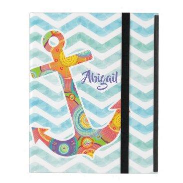 Stylish modern circle pattern ship anchor & waves, iPad case