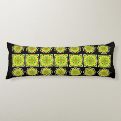 Stylish Modern Repeat Pattern Green Yellow Mix Body Pillow