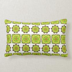 Stylish Modern Repeat Pattern Green Yellow Mix Throw Pillow