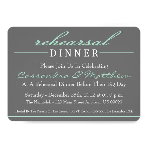 Stylish Rehearsal Dinner Party Invitations (Green)