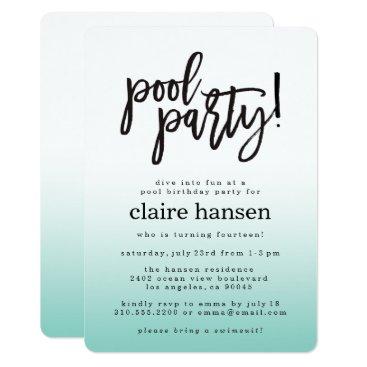 Stylish Teen Pool Party Birthday Invitation