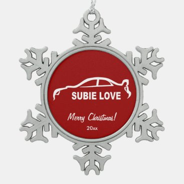 Subaru Impreza WRX STI Subbie Love Silhouette Snowflake Pewter Christmas Ornament