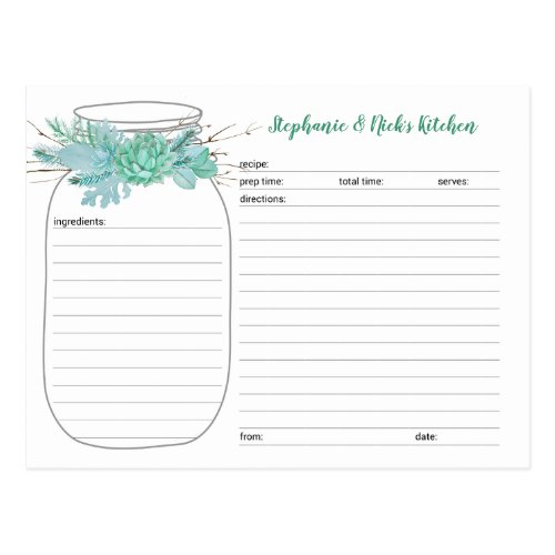 Succulents Mason Jar Bridal Shower Recipe Cards