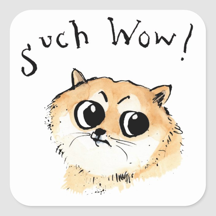 Such Wow Doge Meme Square Sticker Zazzle Com